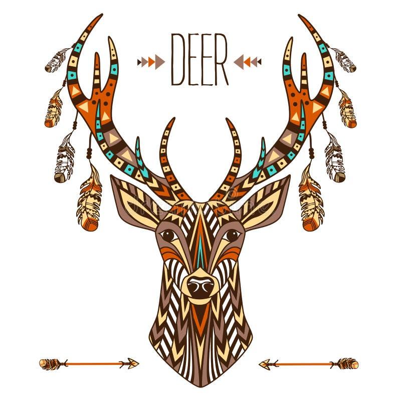 Totem ethnique d'un cerf commun Un tatouage d'un cerf commun avec un ornement Utilisation pour la copie, affiches, T-shirts, tato illustration libre de droits