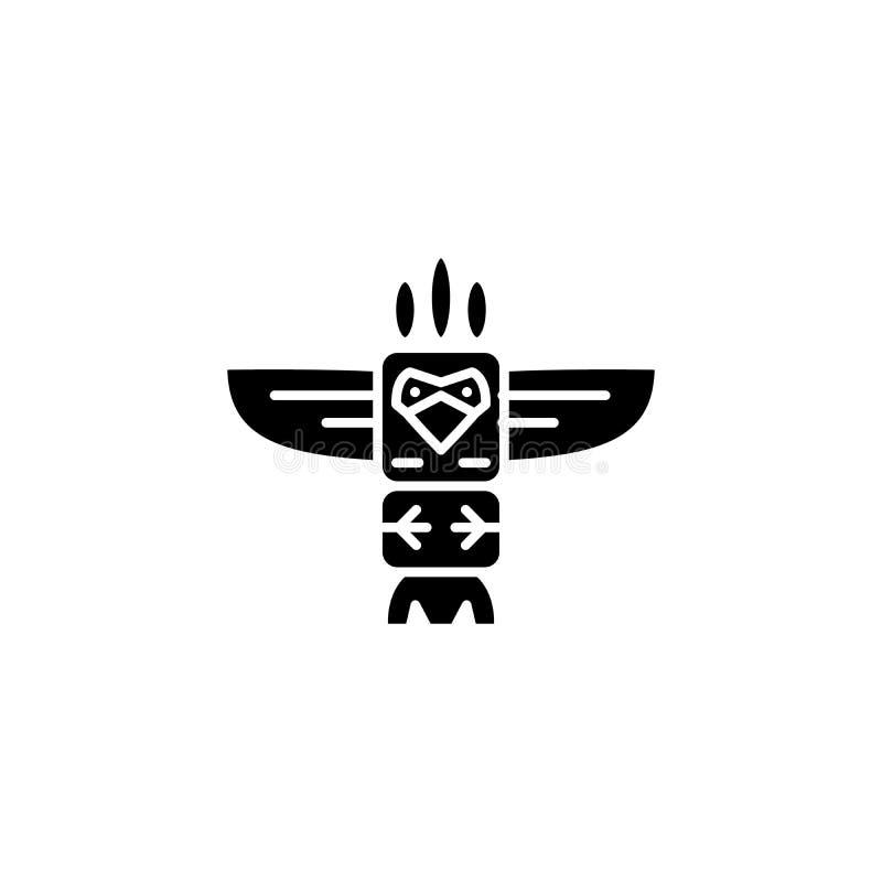Totem ikony czarny pojęcie Totemu płaski wektorowy symbol, znak, ilustracja ilustracji