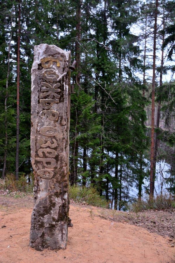 Totem invecchiato nel lago profondo della foresta immagine stock