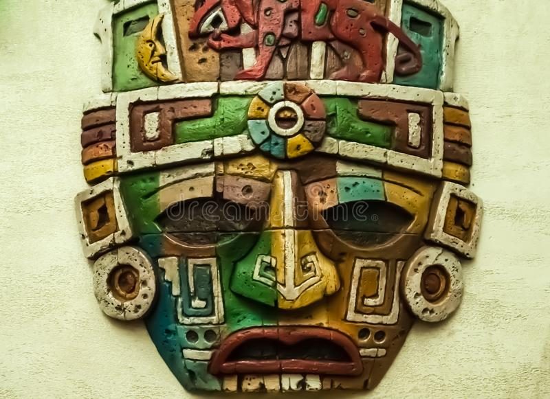 Totem mask, mask icon. A detail of a Totem royalty free stock photos