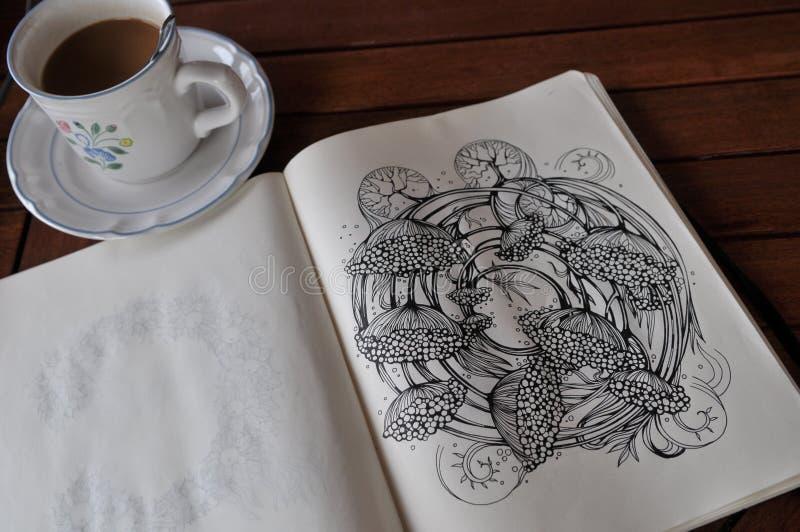 Totem mystérieux, cinq lotus photographie stock