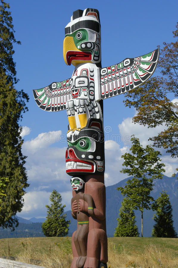 Totem Pole in Vancouver, Canada stock image