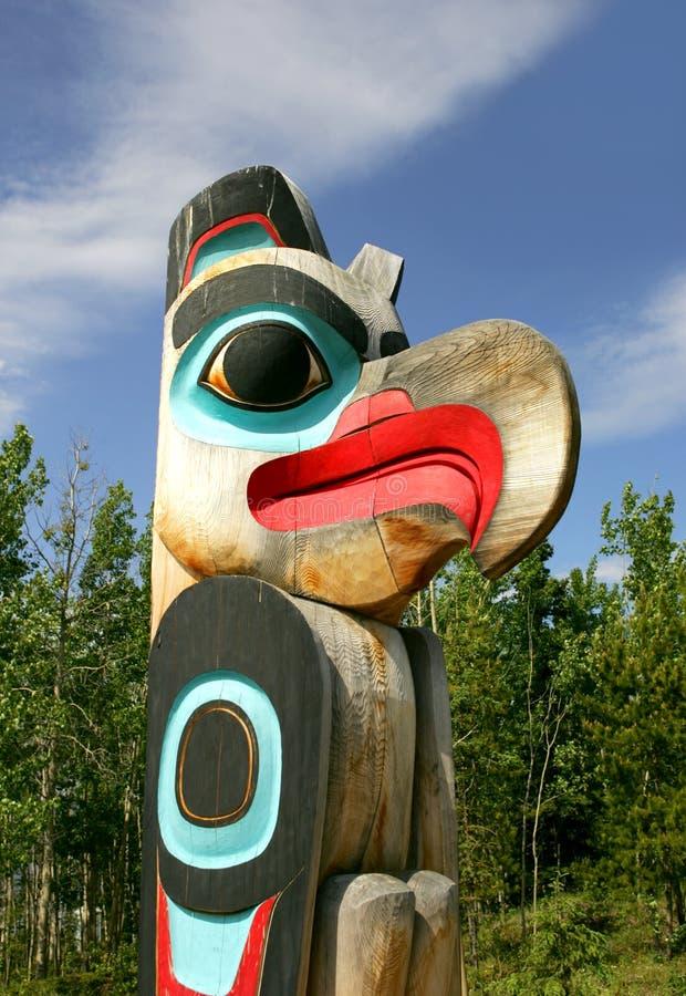 Totem pole. Tlingit Totem pole in British Columbia, Canada stock photo