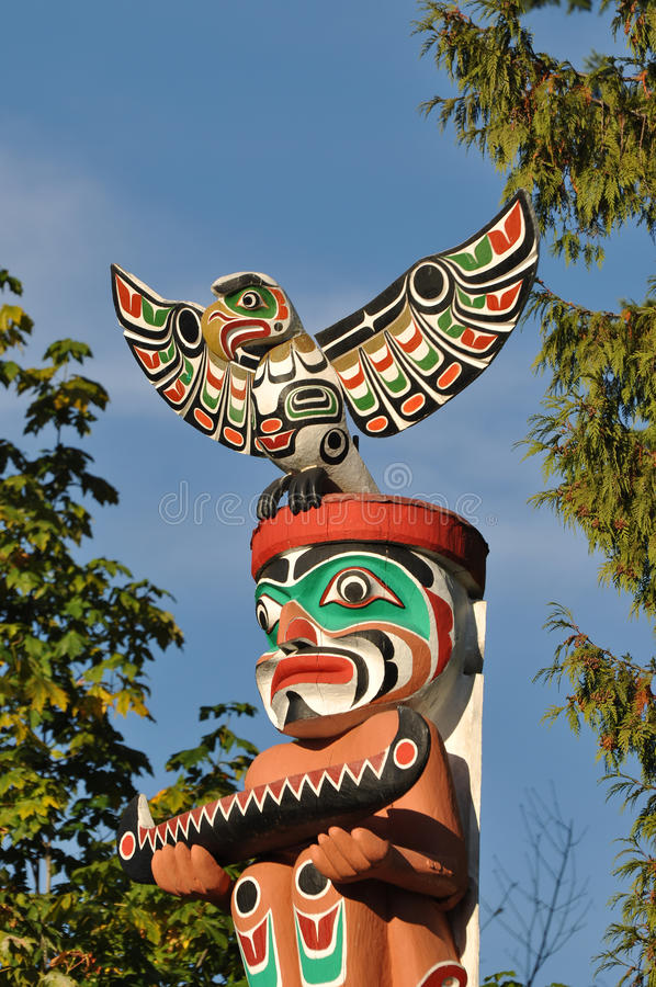 Totem Pole. Close-up Totem shaped in Stanley park, BC Canada royalty free stock image