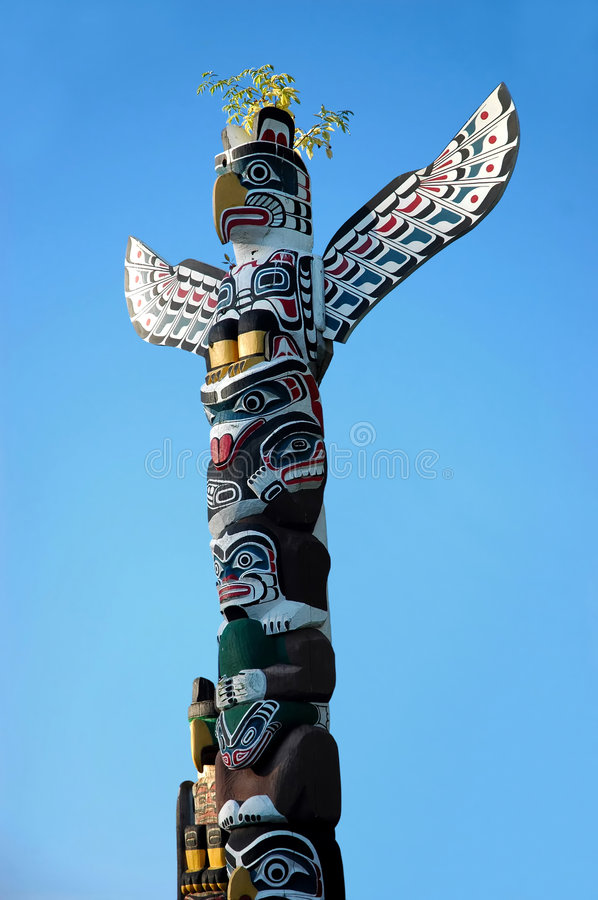 Totem Pole. A painted totem pole of the North American Indians in Vancouver, BC stock photos