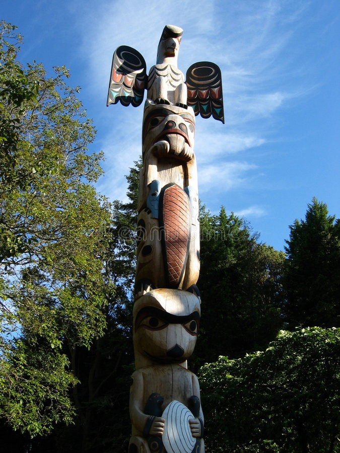 Totem Pole. Inuit totem pole in Canada royalty free stock photo