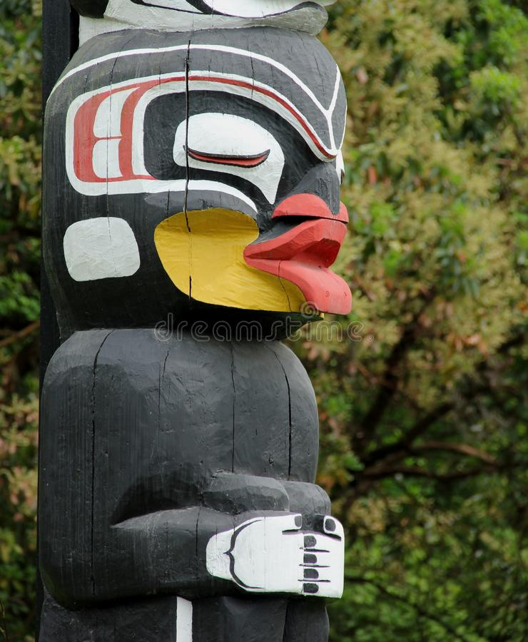 Totem Pole. A detail of a Totem Pole at Stanley park, Vancouver, Canada stock image
