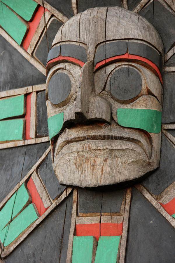 Totem Pole. A detail of a Totem pole on Vancouver Island, British Colombia, Canada royalty free stock images