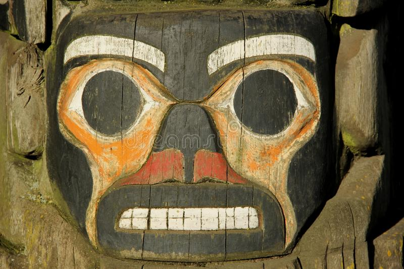 Totem Pole. A detail of a Totem pole on Vancouver Island, British Colombia, Canada stock photo