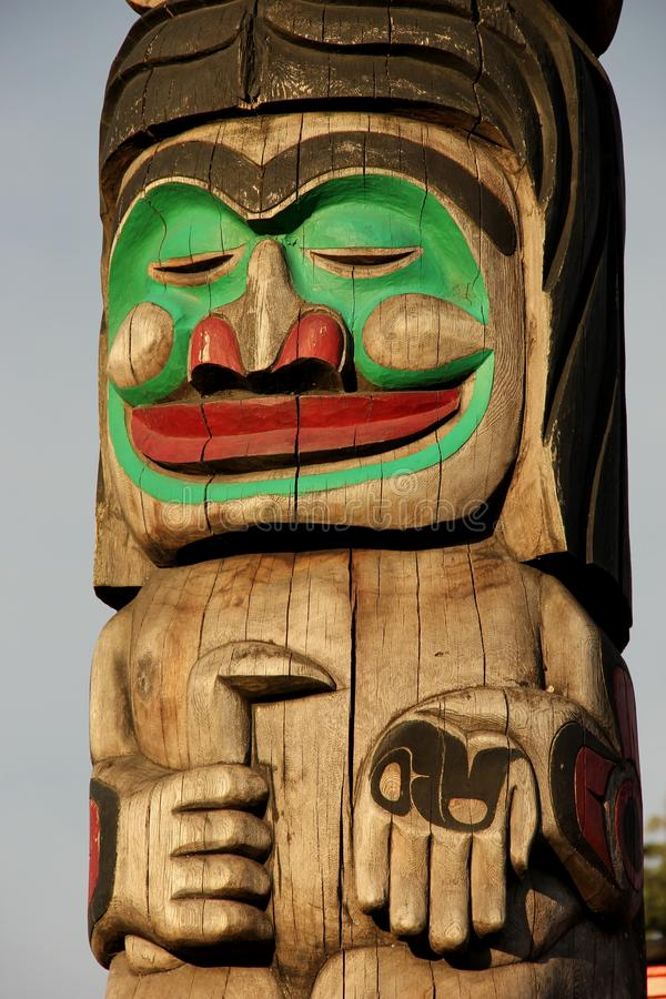 Totem Pole. A detail of a Totem pole on Vancouver Island, British Colombia, Canada stock image