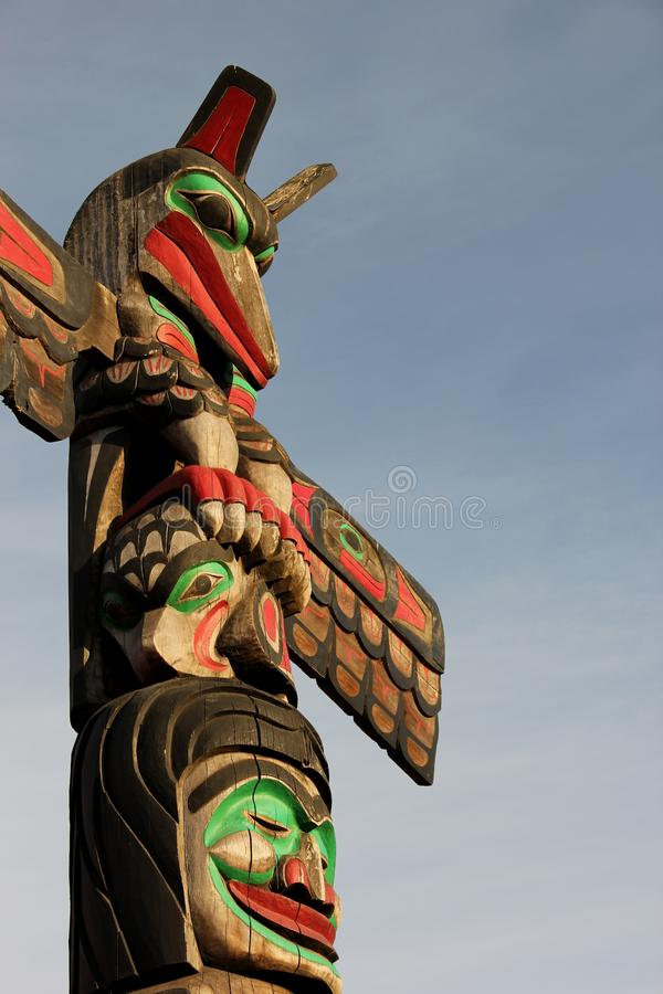 Totem Pole. A detail of a Totem pole on Vancouver Island, British Colombia, Canada royalty free stock photo