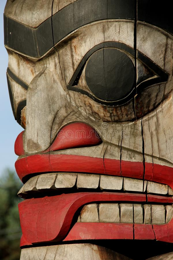 Totem Pole. A detail of a Totem pole on Vancouver Island, British Colombia, Canada royalty free stock photos