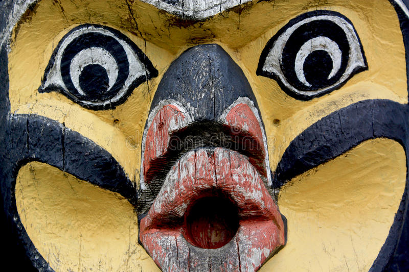 Totem Pole Face Closeup royalty free stock images