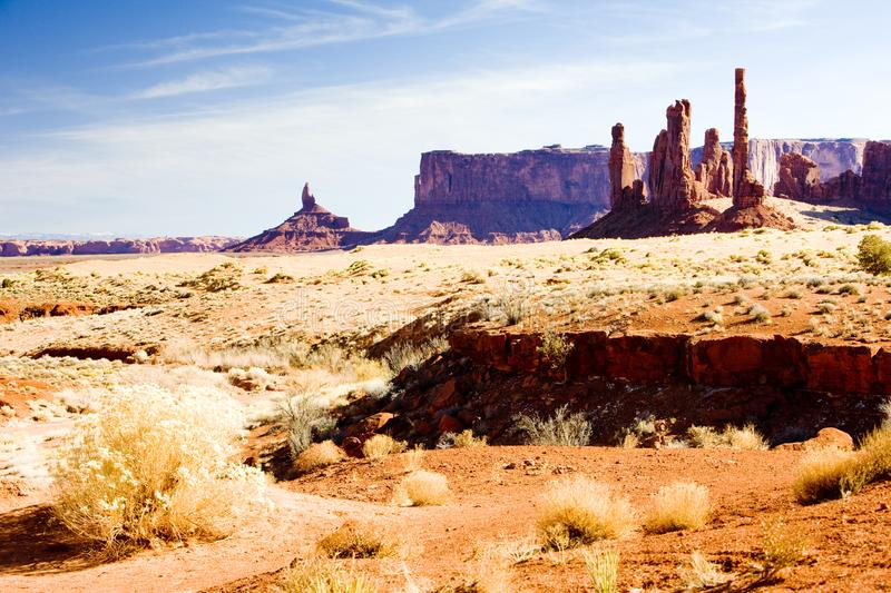 The Totem Pole, Monument Valley National Park, Utah-Arizona, USA. Outdoor, outdoors, outside, exterior, exteriors, america, north, united, states, southwest stock photo