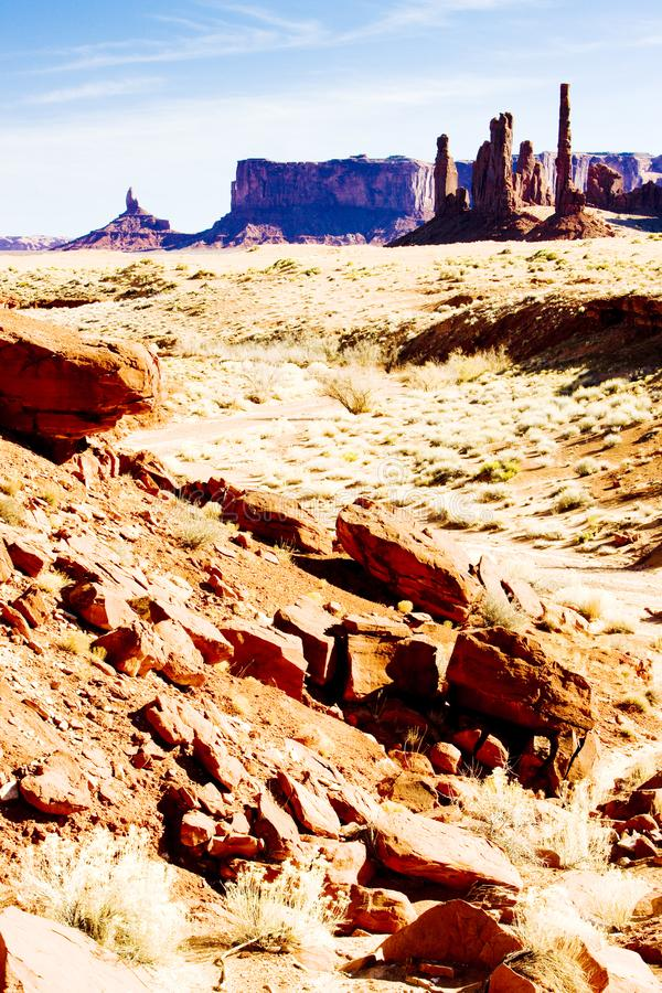 The Totem Pole, Monument Valley National Park, Utah-Arizona, USA. Outdoor, outdoors, outside, exterior, exteriors, america, north, united, states, southwest stock images