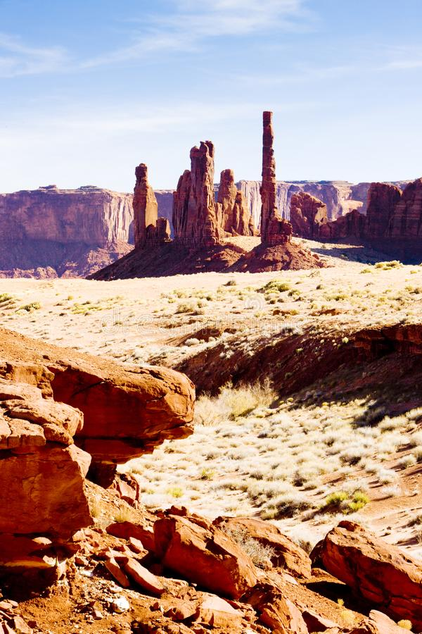 The Totem Pole, Monument Valley National Park, Utah-Arizona, USA. Outdoor, outdoors, outside, exterior, exteriors, america, north, united, states, southwest royalty free stock photos