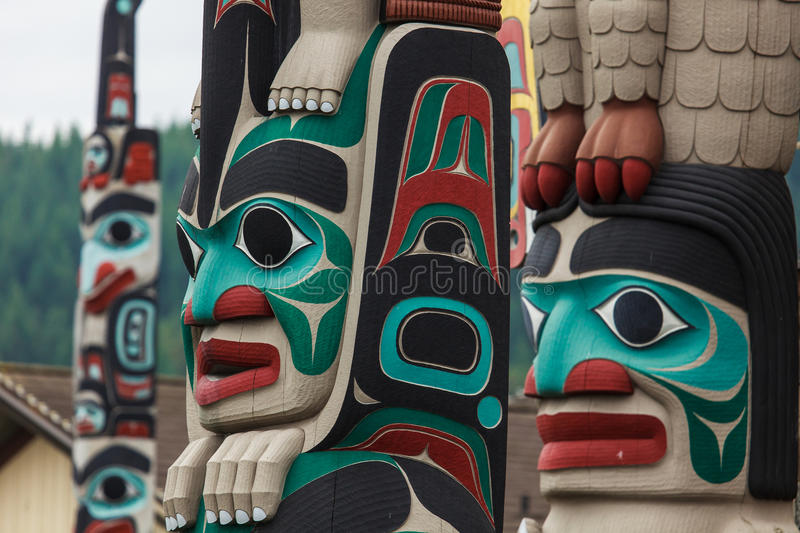 Totem pole at North America royalty free stock image