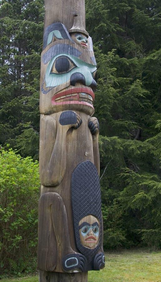 Totem Pole of Saxman Native. Alaskan totem pole of Saxman Nature Village in Ketchikan Alaska royalty free stock photography