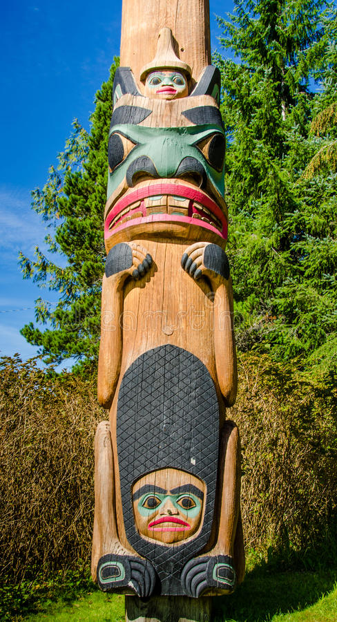 Totem pole in the Saxman Native Village in Ketchikan. KETCHIKAN, ALASKA SEPTEMBER 12, 2016 The totem poles in the Saxman Native Village is the largest collection stock images