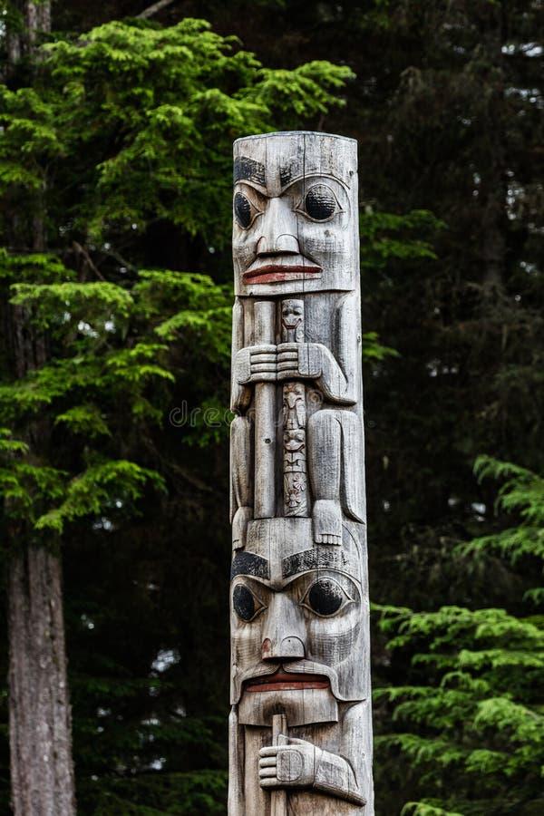 Totem. A totem pole at Sitka National Historical Park Sitka, Alaska stock image