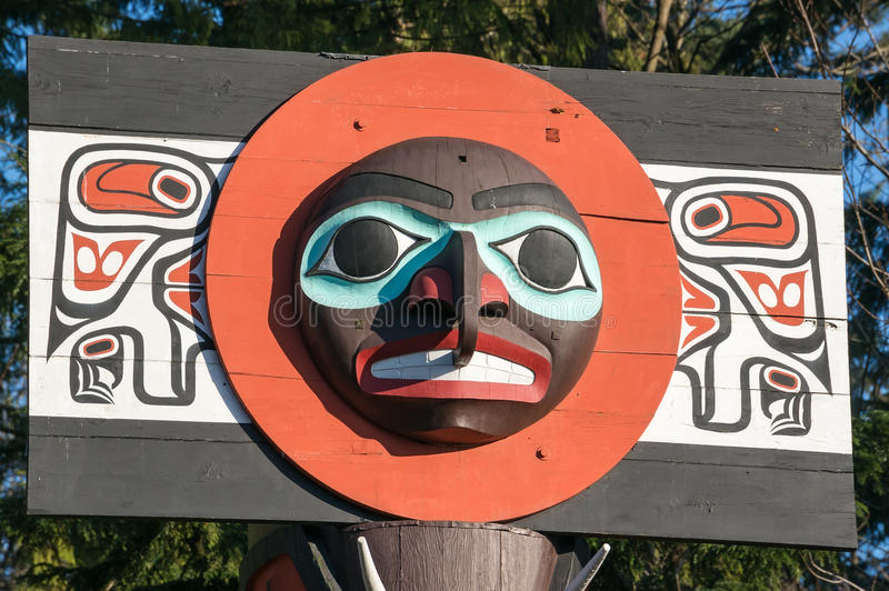 Totem Pole. In Stanley Park, Vancouver, British Columbia royalty free stock images