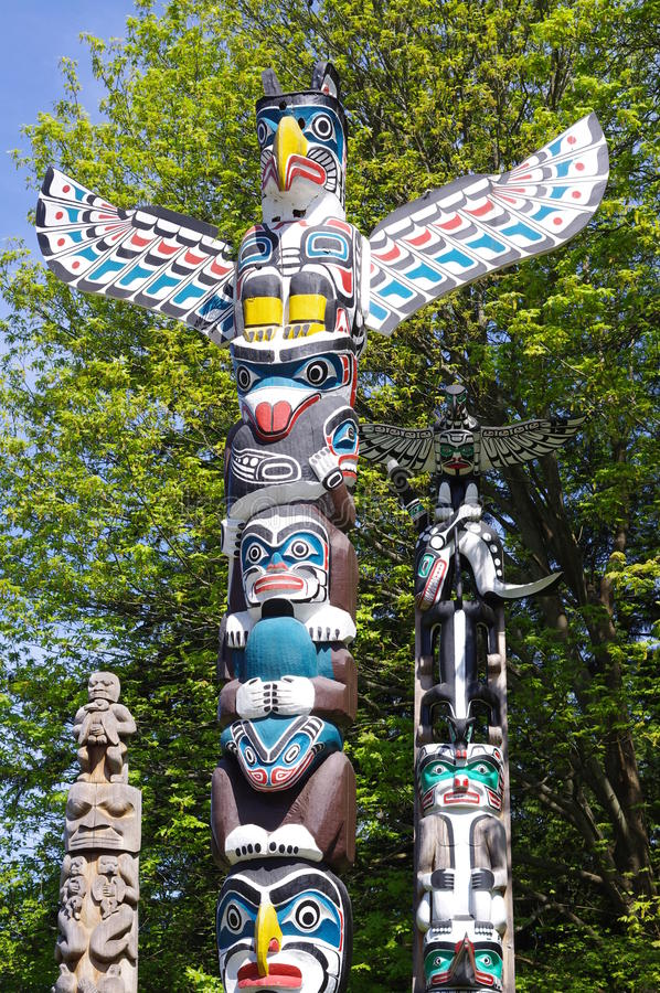 Totem Pole in Stanley Park. In Vancouver, British Columbia, Canada royalty free stock photography