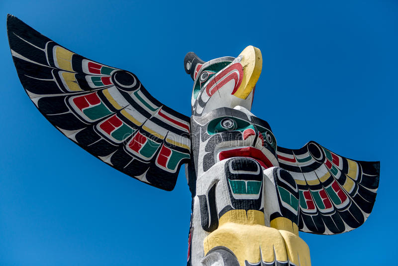 Totem Pole. In Vancouver island at duncan royalty free stock images