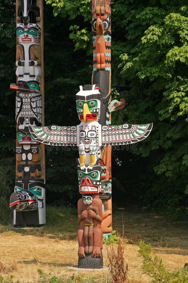 Totem Poles. At Stanley park, Vancouver, Canada royalty free stock images