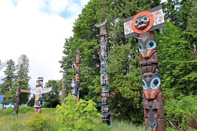 Totem Poles. Indian totem pole in Stanley park. Vancouver. Canada stock photography