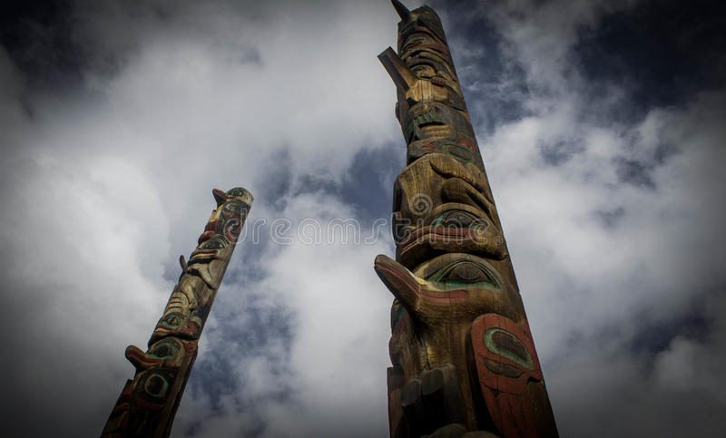 Totem Poles. Petersburg, AK I came across these totem poles carved by the native people and tells a story of family heritage stock photos