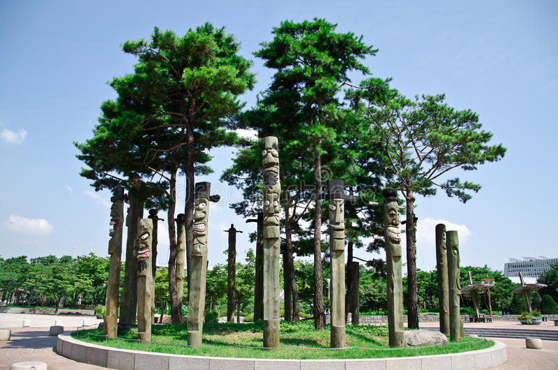 Download The Totem Poles In Pyeonghwa Park - Seoul Stock Photo - Image of wood, totem: 20934672