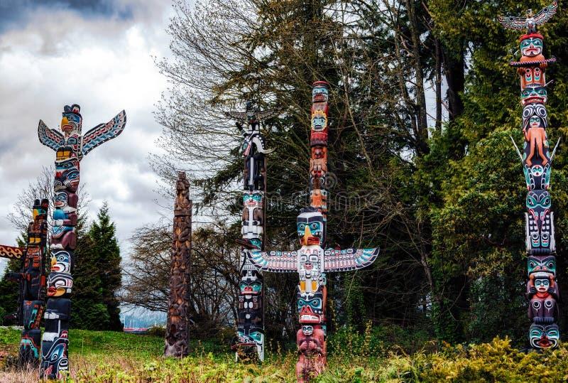 Totem poles in Stanley Park,Vancouver stock image