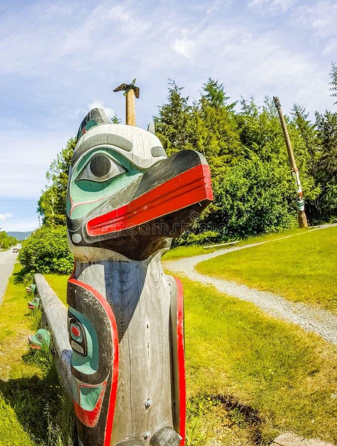 Totem tribal em Alaska ketchikan fotos de stock