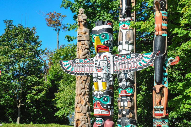 Totem a Vancouver Stanley Park, Columbia Britannica, Canada immagine stock