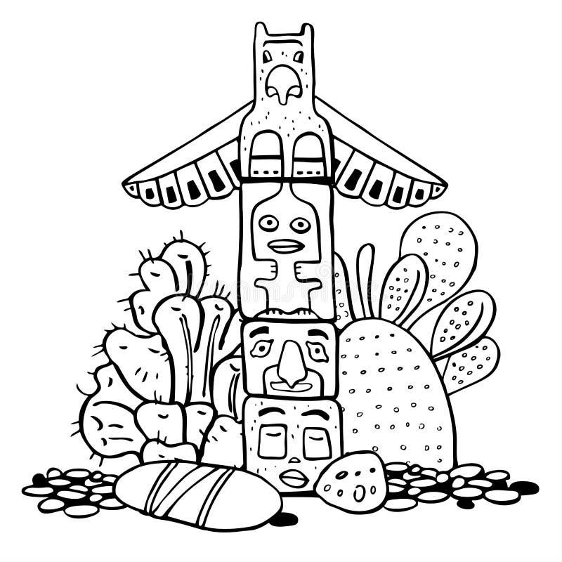 Totempfahl, Steine und Kakteen des amerikanischen Ureinwohners Vektorhandgezogene Entwurfsgekritzel-Skizzenillustration vektor abbildung