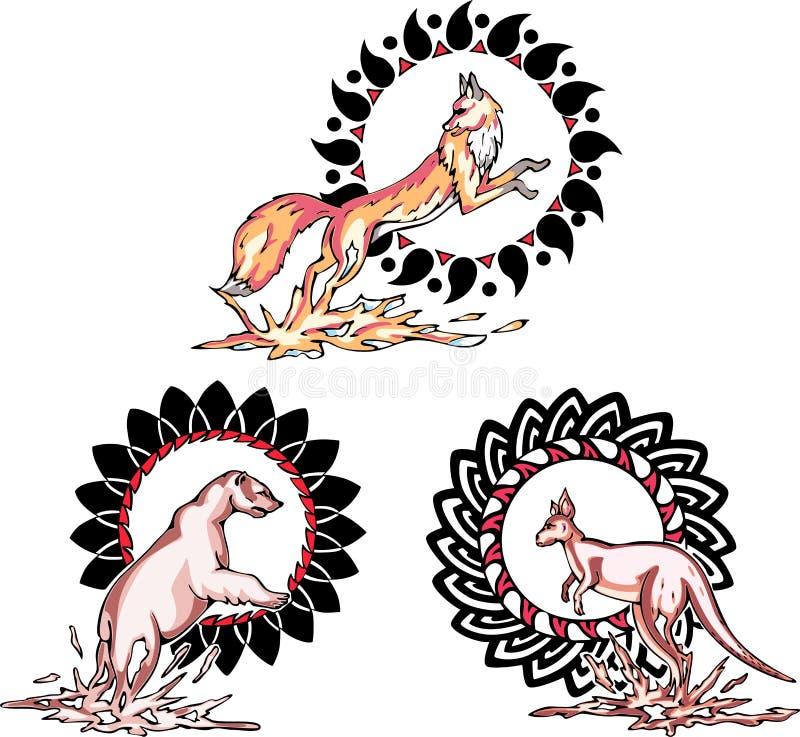 Totems - животные с солнечными знаками иллюстрация вектора