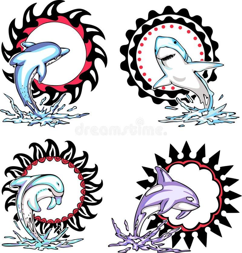 Totems - animaux de mer avec les signes solaires illustration libre de droits