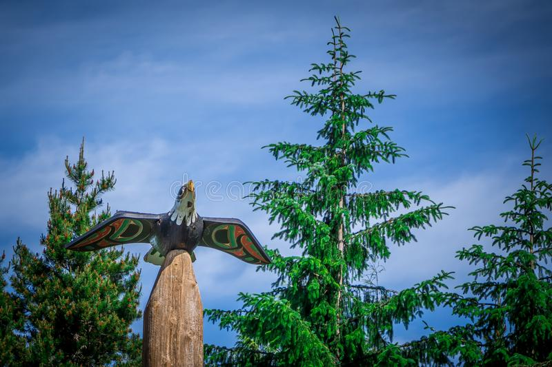 Totems art and carvings at saxman village in ketchikan alaska royalty free stock image