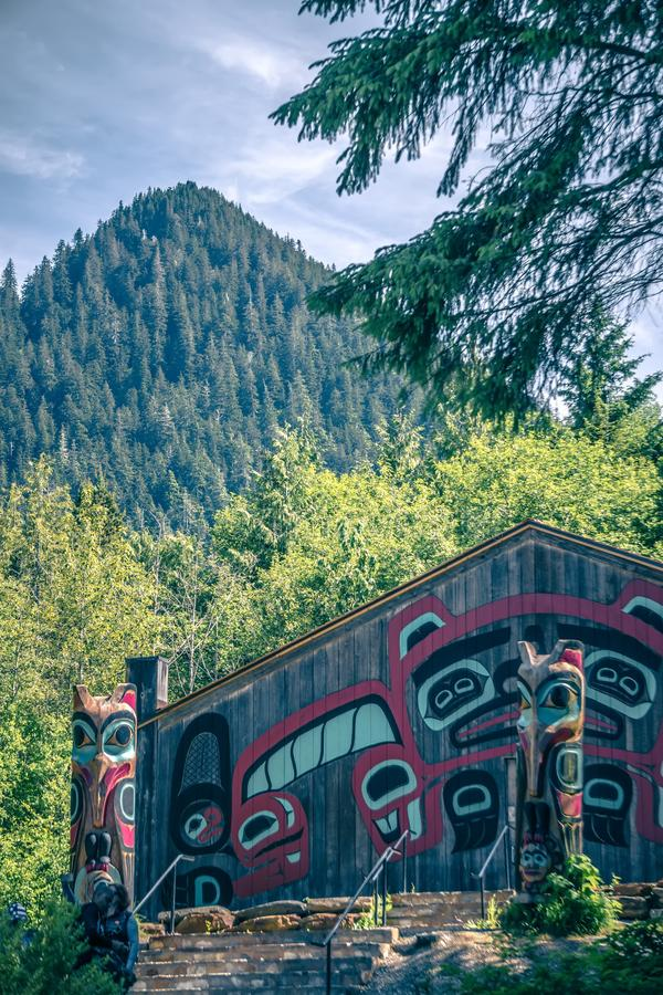 Totems art and carvings at saxman village in ketchikan alaska stock photography