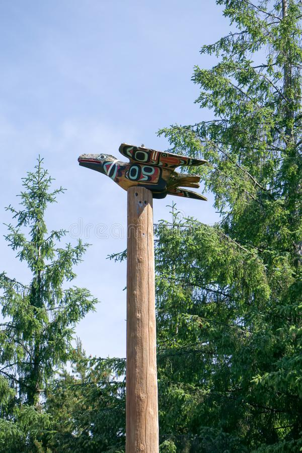 Totems art and carvings at saxman village in ketchikan alaska stock photo