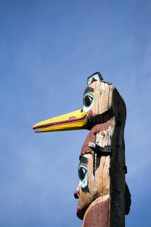 Totems art and carvings at saxman village in ketchikan alaska royalty free stock photo
