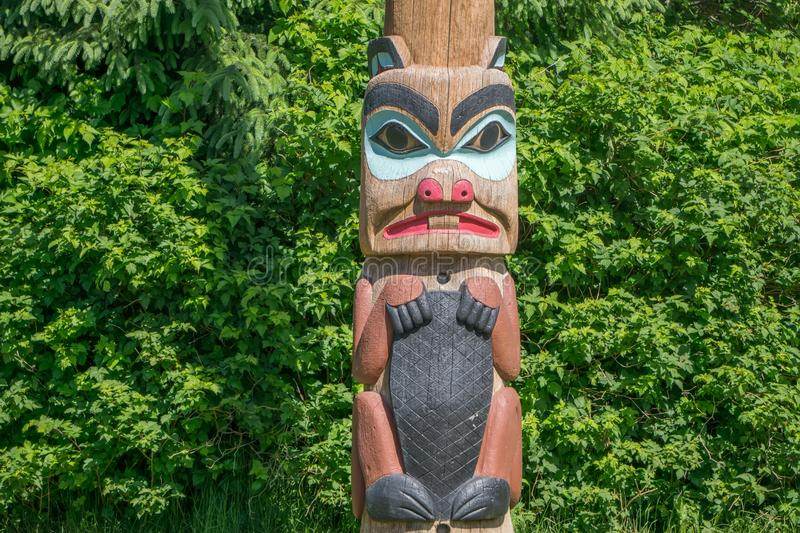 Totems art and carvings at saxman village in ketchikan alaska stock images
