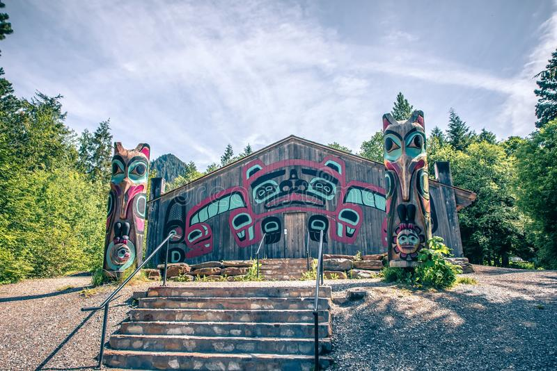 Totems art and carvings at saxman village in ketchikan alaska royalty free stock photography