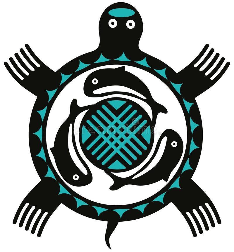 totemsköldpadda vektor illustrationer