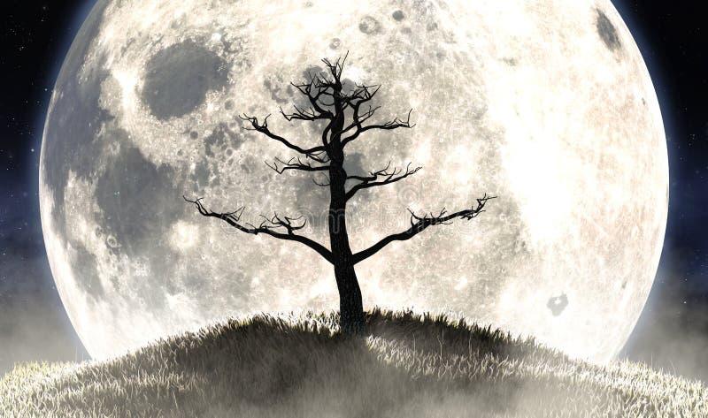 Totenbaum und Mondsilhouette vektor abbildung