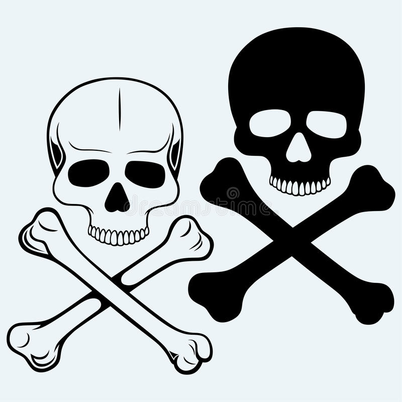 Totenkopf mit gekreuzter Knochen stock abbildung