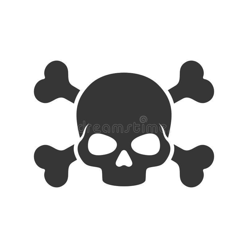 Totenkopf mit gekreuzter Knochen-Ikone auf weißem Hintergrund Vektor lizenzfreie abbildung