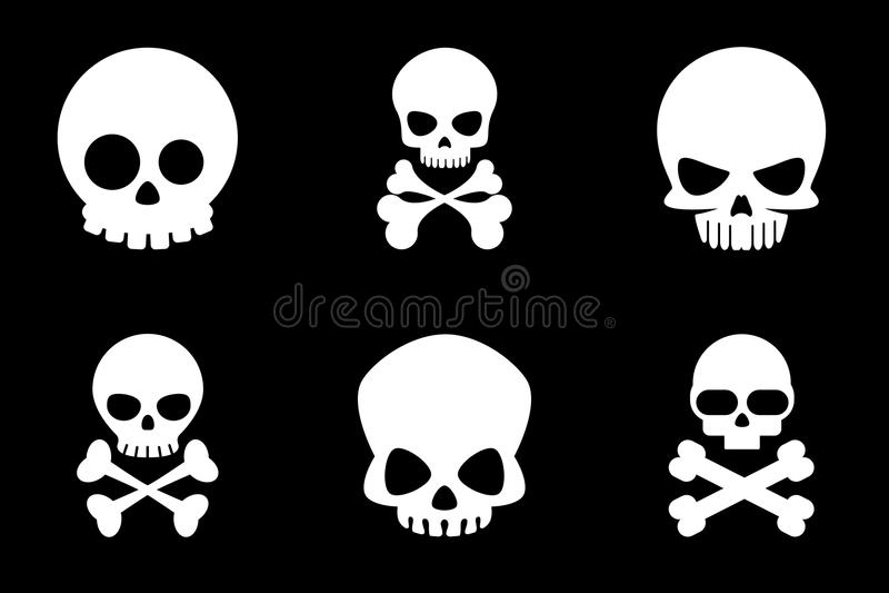 Totenkopf mit gekreuzter Knochen-Ikonen in der Karikaturart lizenzfreie abbildung
