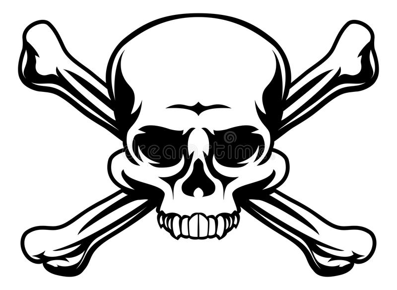 Totenkopf mit gekreuzter Knochen-Symbol stock abbildung