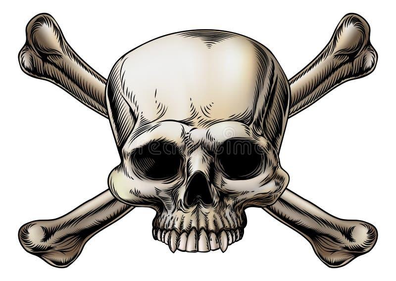 Totenkopf mit gekreuzter Knochen-Zeichnung stock abbildung